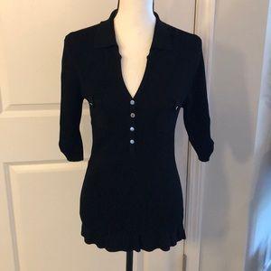 Large Cache 3/4 Sleeve Black Button Blouse